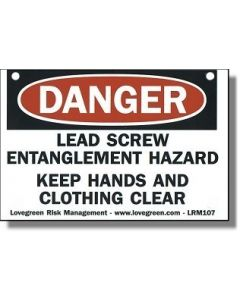 Safety Sign - Lathe Lead Screw - Laminated Plastic